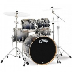 PDP by DW Concept Maple CM5 Studio Silver to Black Sparkle Fade