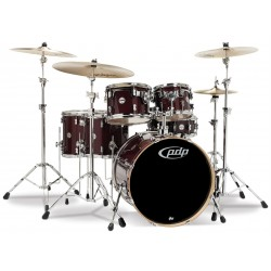 PDP Concept Maple CM6 Red to Black Sparkle con herrajes
