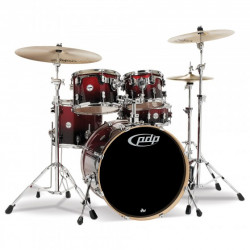 PDP by DW Concept Maple CM5 Standard Red to Black + Set Hardware