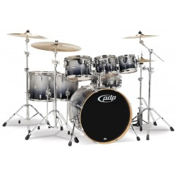 PDP by DW Concept Maple CM7 Silver to Black Sparkle Fade  + Set de Herrajes